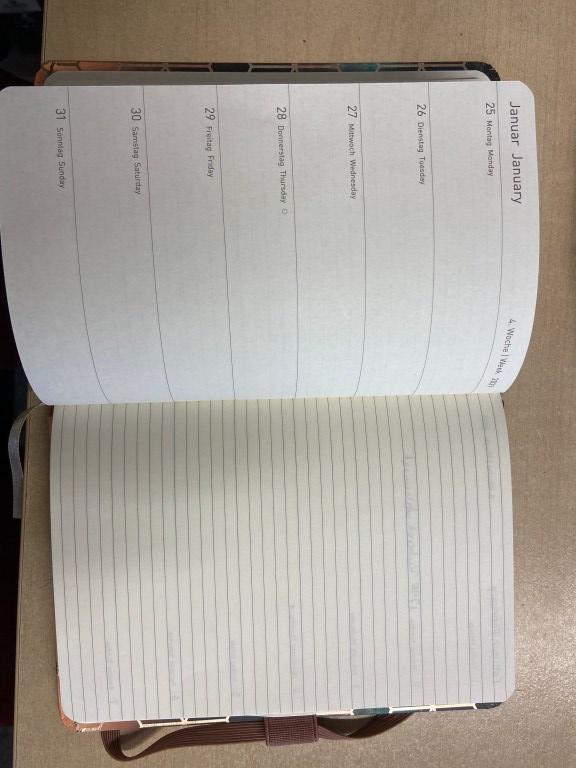 Bild um 90° gedreht: Eine noch unbeschriftete Doppelseite des Kalenders (25.01. - 31.01.). Links eine breite Zeile je Tag, rechts eine linierte Seite für Notizen.