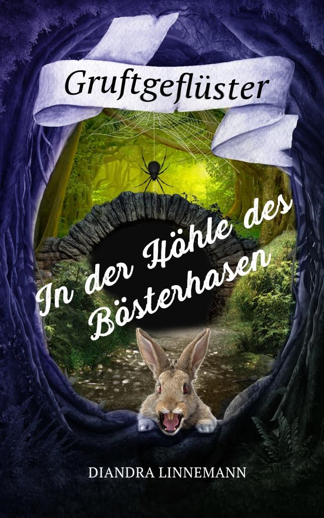 Den rahmen bilden zwei knorrige, violett-schwarze Bäume. Unten faucht ein wütendes braunes Kaninchen mit roten Augen den Betrachter an. Dahinter führt ein Pfad durch einen Wald auf eine Höhle zu. Über dem Eingang baumelt eine schwarze Spinne.