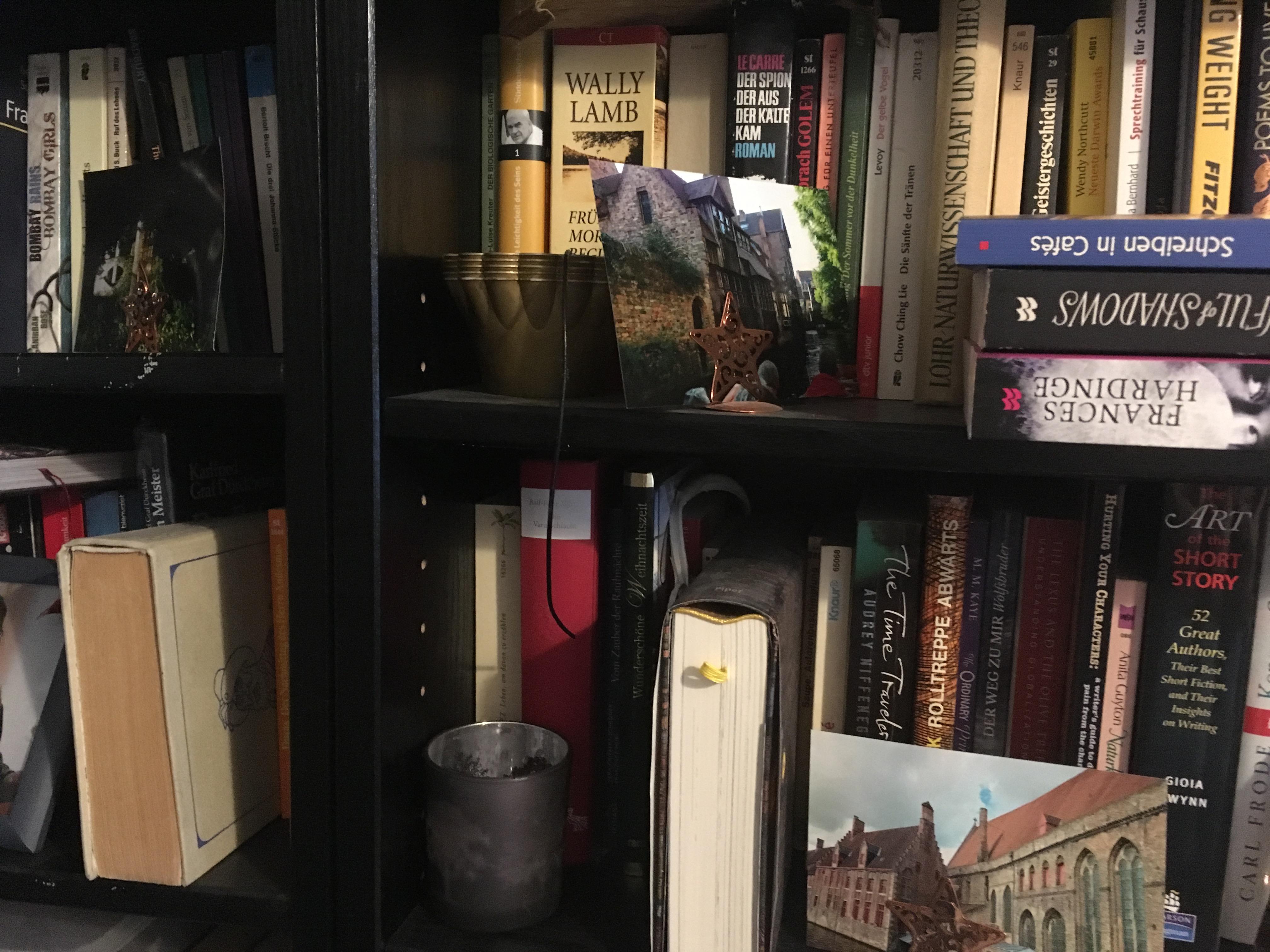 In einem schwarzen Bücherregal (Ausschnitt) liegen, stapeln und drängeln sich diverse Bücher. Chaos.