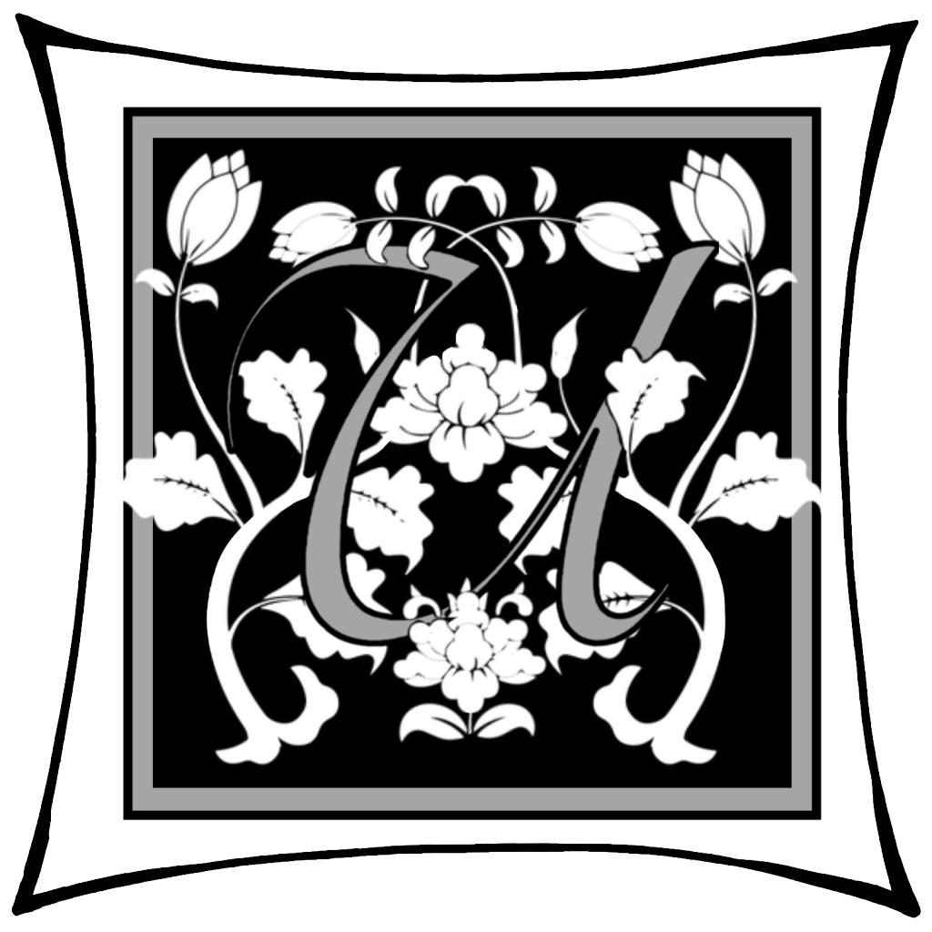 Ein U, um dessen Arme Ranken geschlungen sind, auf schwarzem Grund mit grauem geraden Rahmen; darum noch ein weißer eckiger Rahmen.